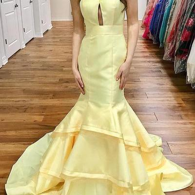 Gorgeous Mermaid Yellow Long Prom D..