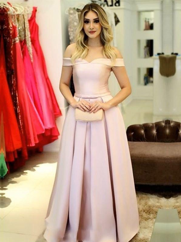 f79473bee2 Elegant Pink Off Shoulder Lace up Back Satin Prom Dress,Ruffles Long Bow  Sash Evening