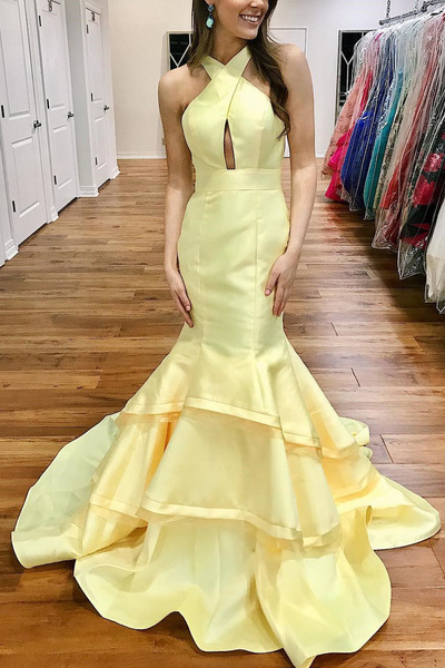 Gorgeous Mermaid Yellow Long Prom Dress With Open Back
