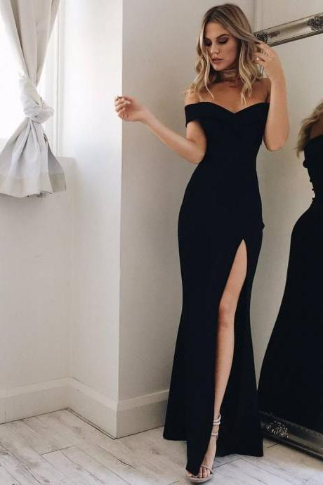 Off the Shoulder Black Prom Dress,Long Formal Occasion Dress with Split