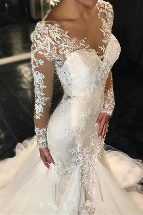Sexy Mermaid Wedding Gowns Lace Appliqued Long Sleeve White Bridal Dress Train