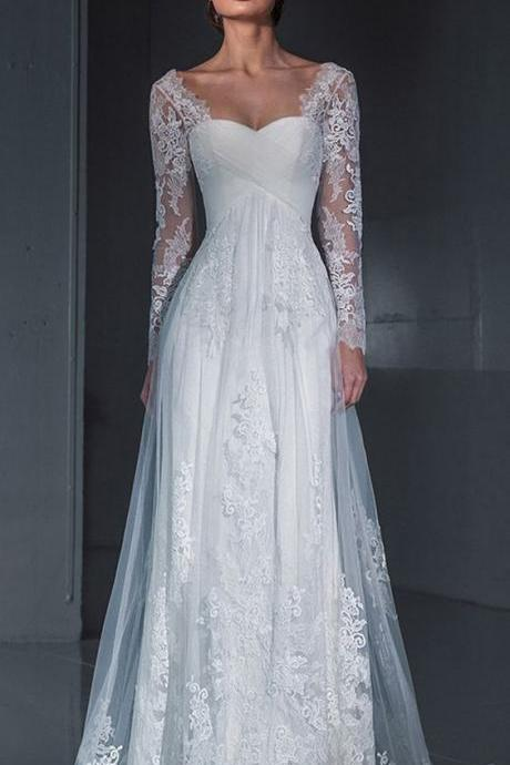 Long Sleeve Formal Lace Wedding Dresses, Bridal Dresses