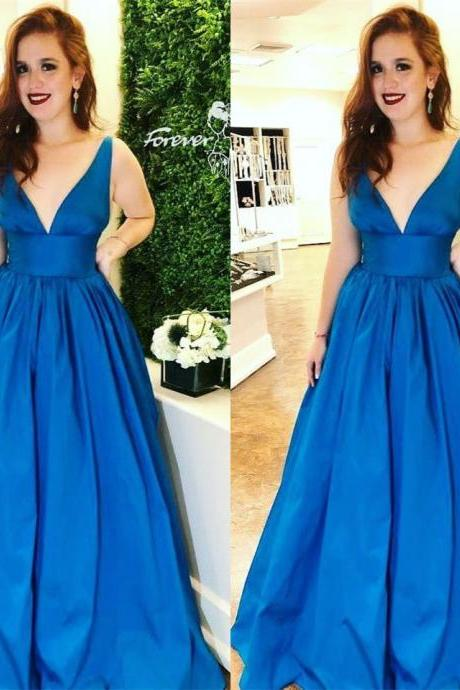 Plunging Neck Royal Blue Pageant Dress Simple Prom Dress