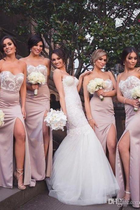 Hot Sales High Side Split Bridesmaid Dresses For Garden Wedding Appliqued Sweetheart Mermaid Prom Dress Wedding Party Gown Sweep Train