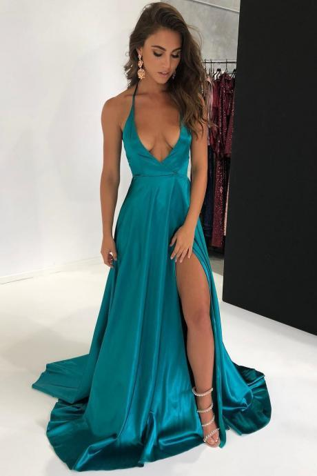 Sexy Halter Deep V-Neck Split Long Prom Dress,Sweep Train Evening Dresses