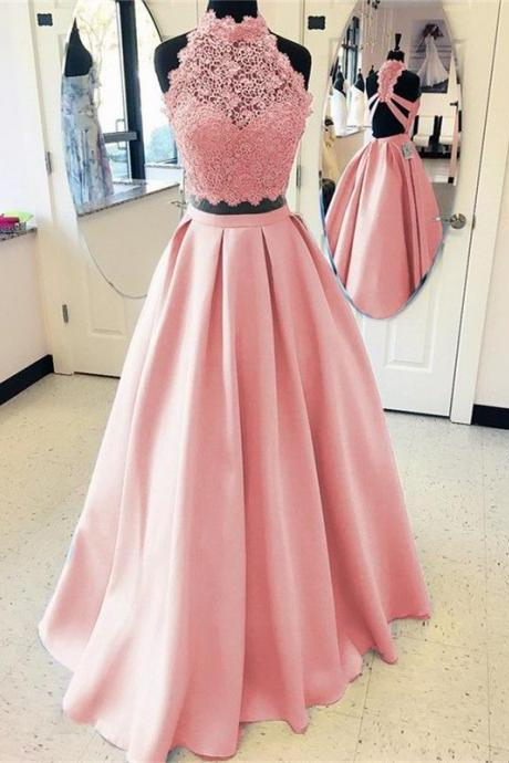 Elegant A-line High Neck Open Back Satin Prom Dresses Two Piece Evening Gowns