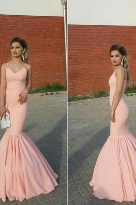 blush pink mermaid prom dress, v neck formal dress,mermaid evening gowns