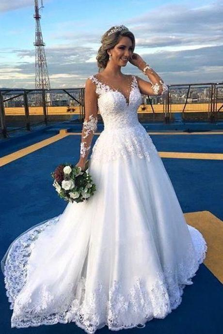 Lace Wedding Dress, Sexy Sheer Lace Bridal Dress, A Line Wedding Gowns, Long Sleeve Lace Bridal Dresses, Sexy See Through Long Bridal Dresses, Illusion Neck Long Wedding Gowns, Court Train Lace Country Wedding Dress
