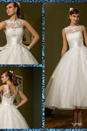 White Wedding Dress,Tulle Lace Wedding Dresses,Lace Tea Length Short Charming Wedding Dress